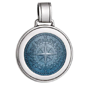 Front of Colby Davis Compass Rose Pendant - Large, Gray