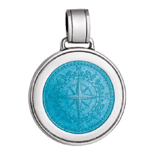 Front of Colby Davis Compass Rose Pendant - Large, Light Blue