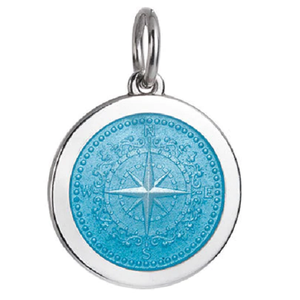 Front of Colby Davis Compass Rose Pendant - Medium, Light Blue