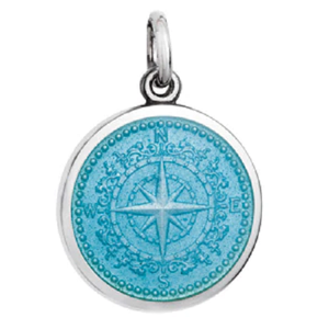 Front of Colby Davis Compass Rose Pendant, Small - Light Blue