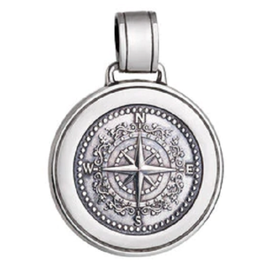 Front of Colby Davis Compass Rose Pendant - Large, Oxidized Silver