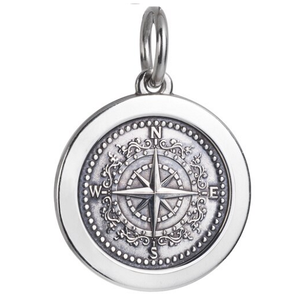 Front of Colby Davis Compass Rose Pendant - Medium, Oxidized Silver