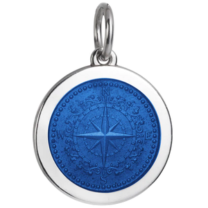 Front of Colby Davis Compass Rose Pendant - Medium, Royal Blue