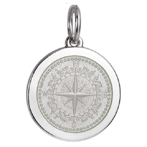 Front of Colby Davis Compass Rose Pendant - Medium, White