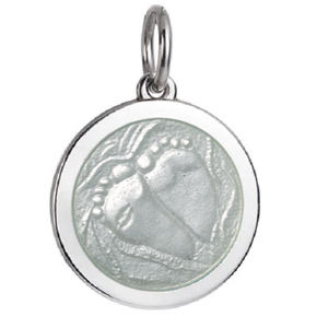 Front of Colby Davis Baby Feet Pendant - Medium, White