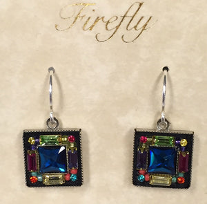 Firefly Multi Color Square Earrings