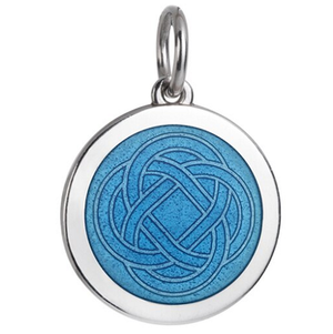 Front of Colby Davis Grandmother Celtic Knot Pendant - Medium, French Blue
