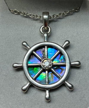 Wild Pearle Abalone Ship's Wheel Necklace