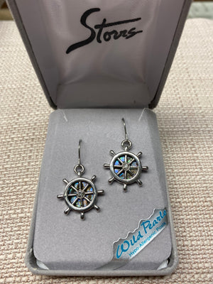Wild Pearle Abalone Ship's Wheel Earrings