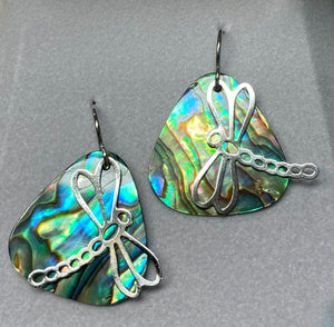 Wild Pearle Abalone Dargonfly Summer Earrings