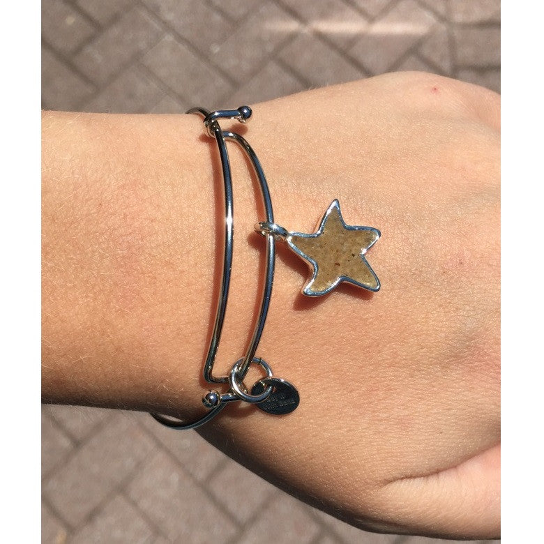 Dune Jewelry Silver Lewes Beach Sand Bangle, Starfish