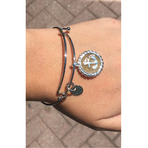 Dune Jewelry Silver Anchor Bangle, Lewes Beach