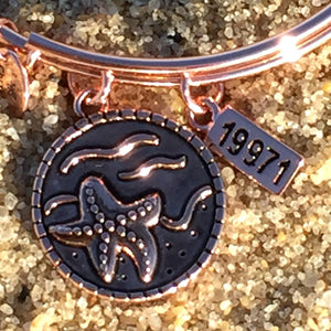 Rehoboth Delaware Beach Bangle, Rose Gold, Chrysalis