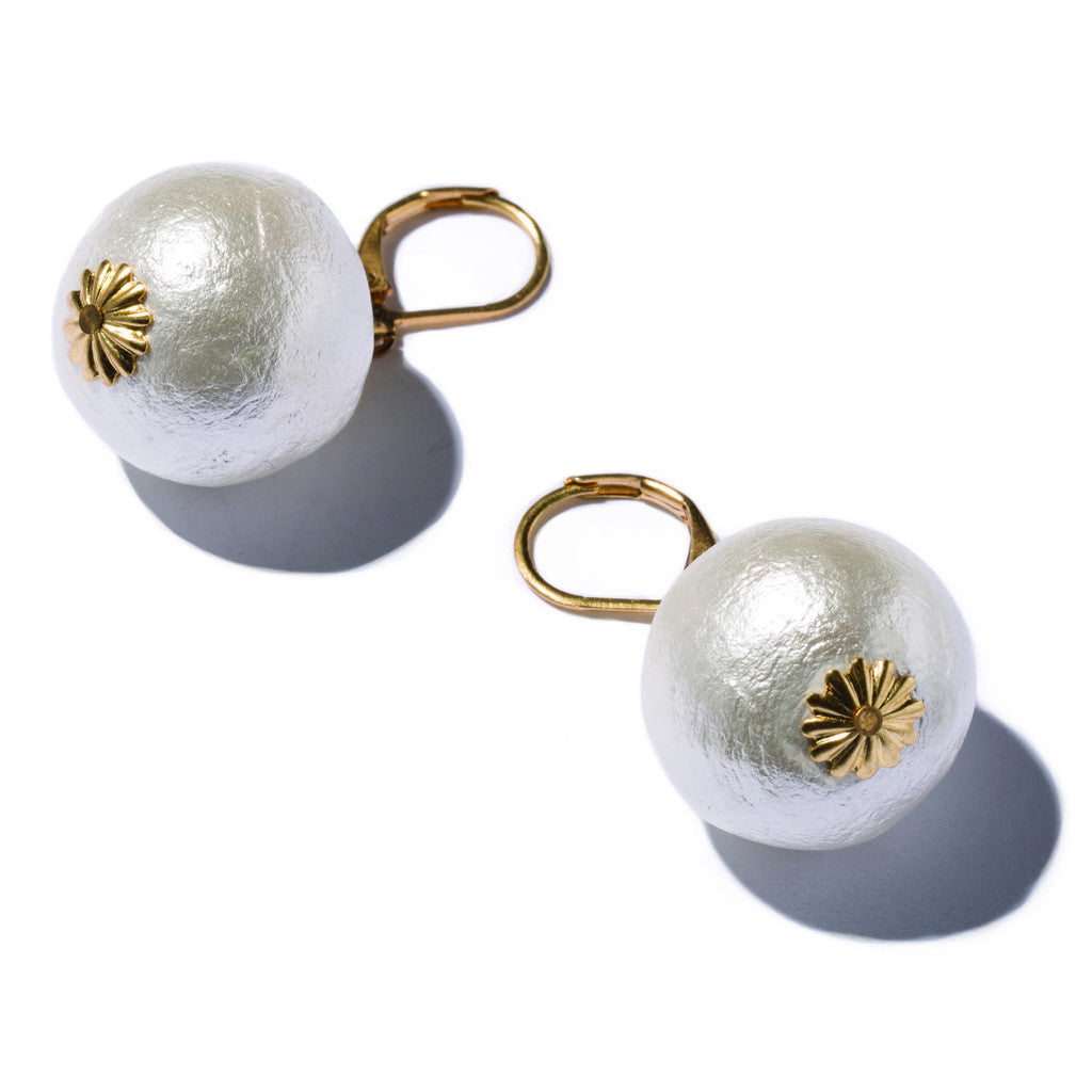 Cotton Pearl Earrings, Gold