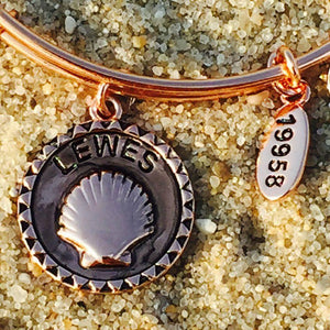 Lewes Beach Delaware Shell Bangle, Rose Gold, Chrysalis