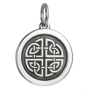 Front of Colby Davis Mother-Daughter Celtic Knot Pendant - Medium, Oxidized Silver