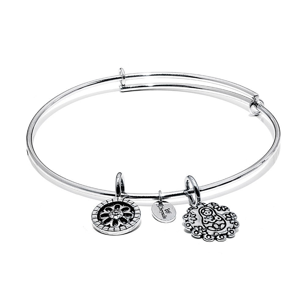 Mother Doll Expandable Bangle - Silver