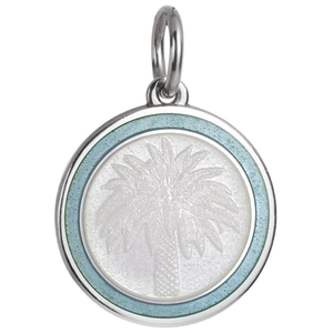 Front of Colby Davis Palm Tree Pendant - Medium, White & Light Blue