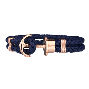 Paul Hewitt navy leather bracelet (PHREP) with rose gold anchor