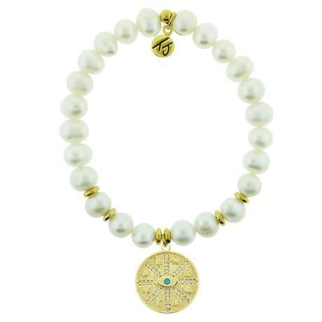 T. Jazelle White Pearl Gold Protection Bracelet