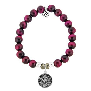 T. Jazelle Pink Tiger's Eye Saint Christopher Bracelet