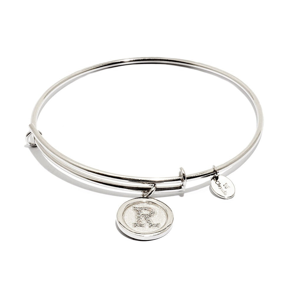 Initial R Expandable Bangle - Silver
