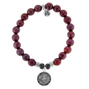 T. Jazelle Red Ruby Agate Saint Christopher Bracelet