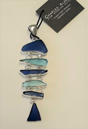 Charles Albert 5 Tier Shades of Blue Sea Glass Pendant