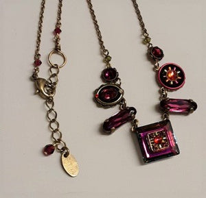 Firefly Raspberry Mosaic Necklace