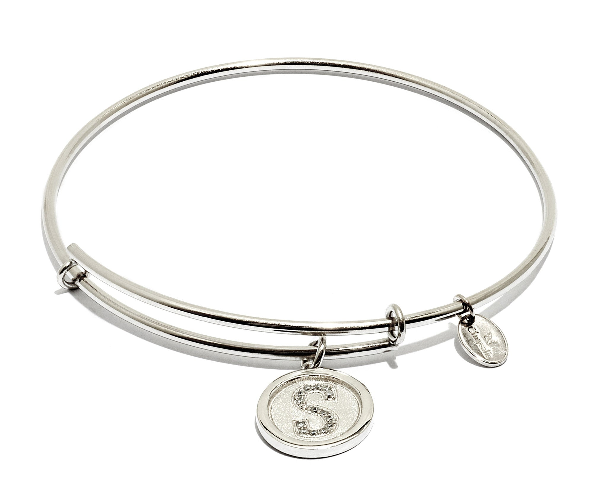 Initial S Expandable Bangle - Silver