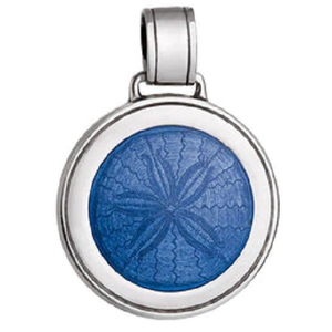 Front of Colby Davis Sand Dollar Pendant - Large, French Blue