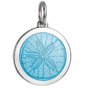 Front of Colby Davis Sand Dollar Pendant - Medium, Light Blue