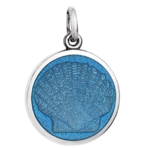 Front of Colby Davis Scallop Shell Pendant - Small, French Blue