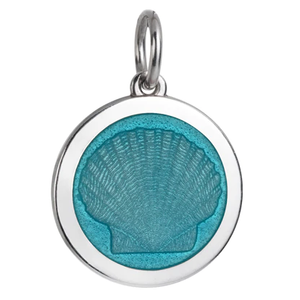 Front of Colby Davis Scallop Shell Pendant - Medium, Light Blue