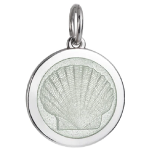 Front of Colby Davis Scallop Shell Pendant - Medium, White