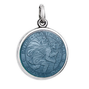 Front of Colby Davis Saint Christopher Pendant - Small, Gray