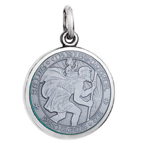 Front of Colby Davis Saint Christopher Pendant - Small, Oxidized Silver