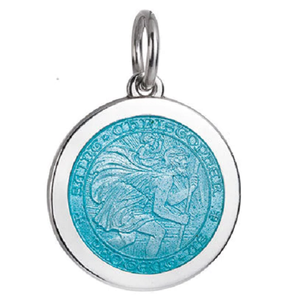 Front of Colby Davis Saint Christopher Pendant - Medium, Light Blue