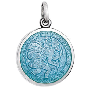 Front of Colby Davis Saint Christopher Pendant - Small, Light Blue