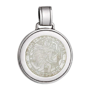 Front of Colby Davis Saint Christopher Pendant - Large, White