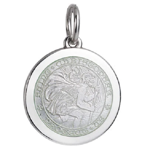 Front of Colby Davis Saint Christopher Pendant - Medium, White