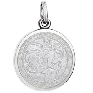 Front of Colby Davis Saint Christopher Pendant - Small, White