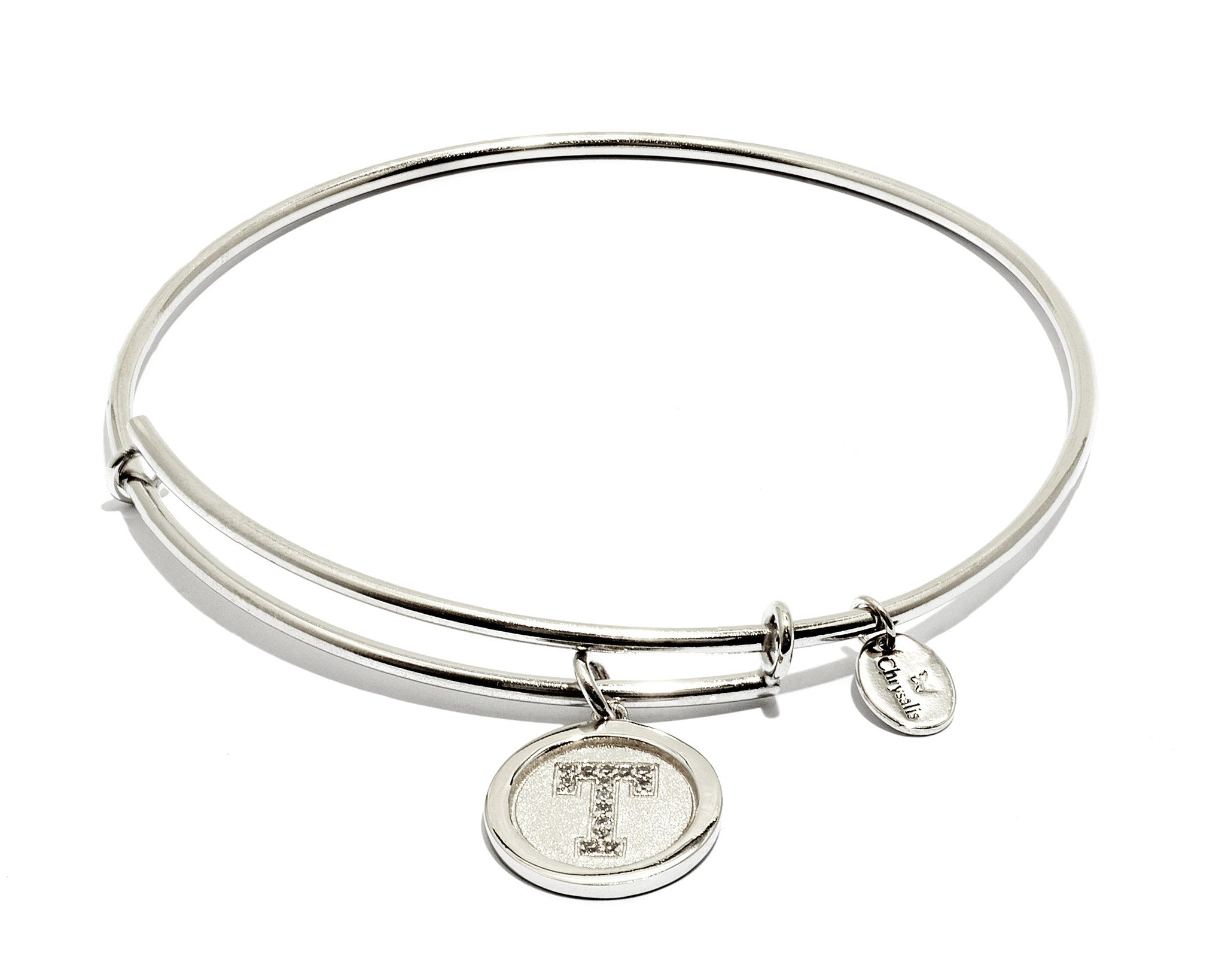Initial T Expandable Bangle - Silver