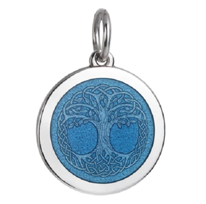 Front of Colby Davis Tree of Life Celtic Knot Pendant - Medium, French Blue