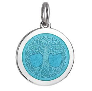 Front of Colby Davis Tree of Life Celtic Knot Pendant - Medium, Light Blue