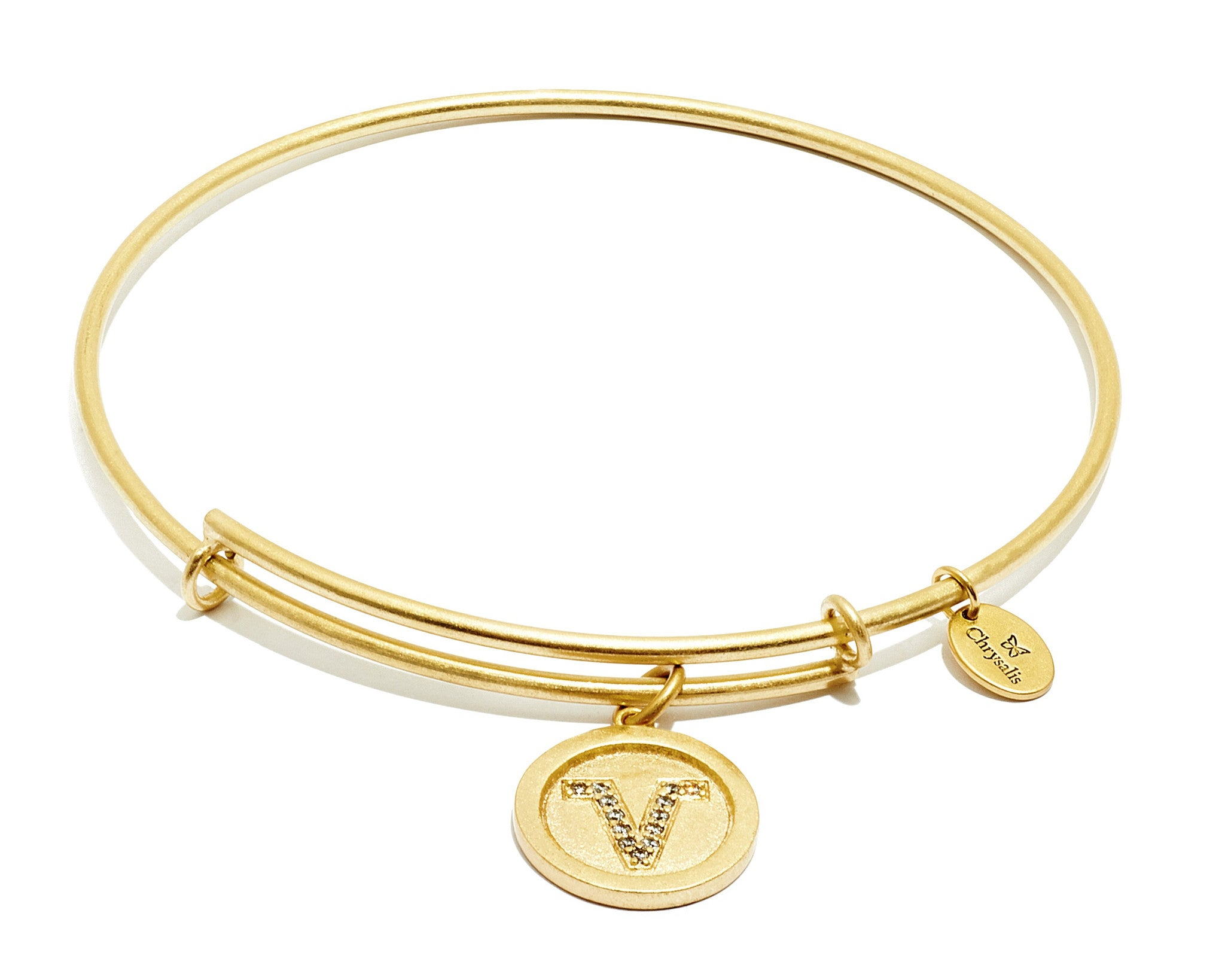 Initial V Expandable Bangle - Gold