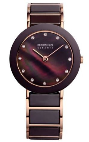 Women's 35mm Rose Gold and Brown Bering Watch