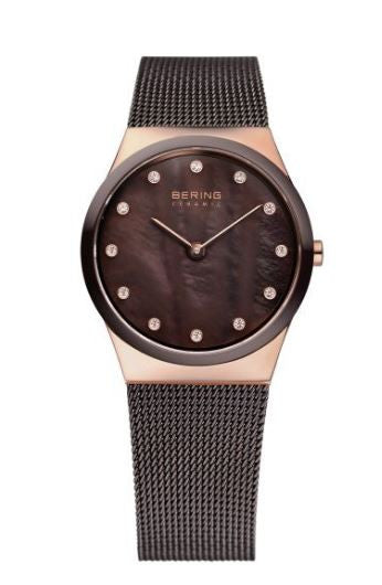 Women's 30mm Brown Mesh Bering Watch