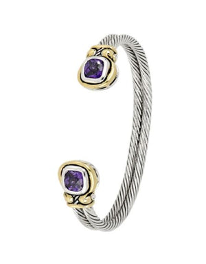 Anvil Amethyst Color CZ Cuff Bracelet