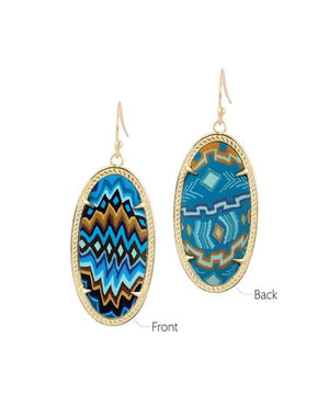 Jilzarah Aztec Blue Reversible Earrings